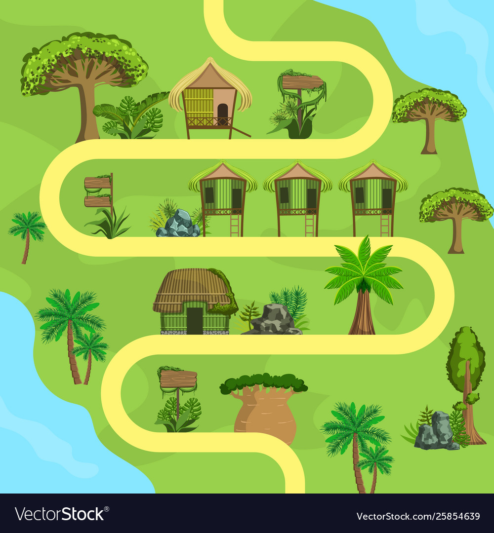 Map tropical island with bungalows top view