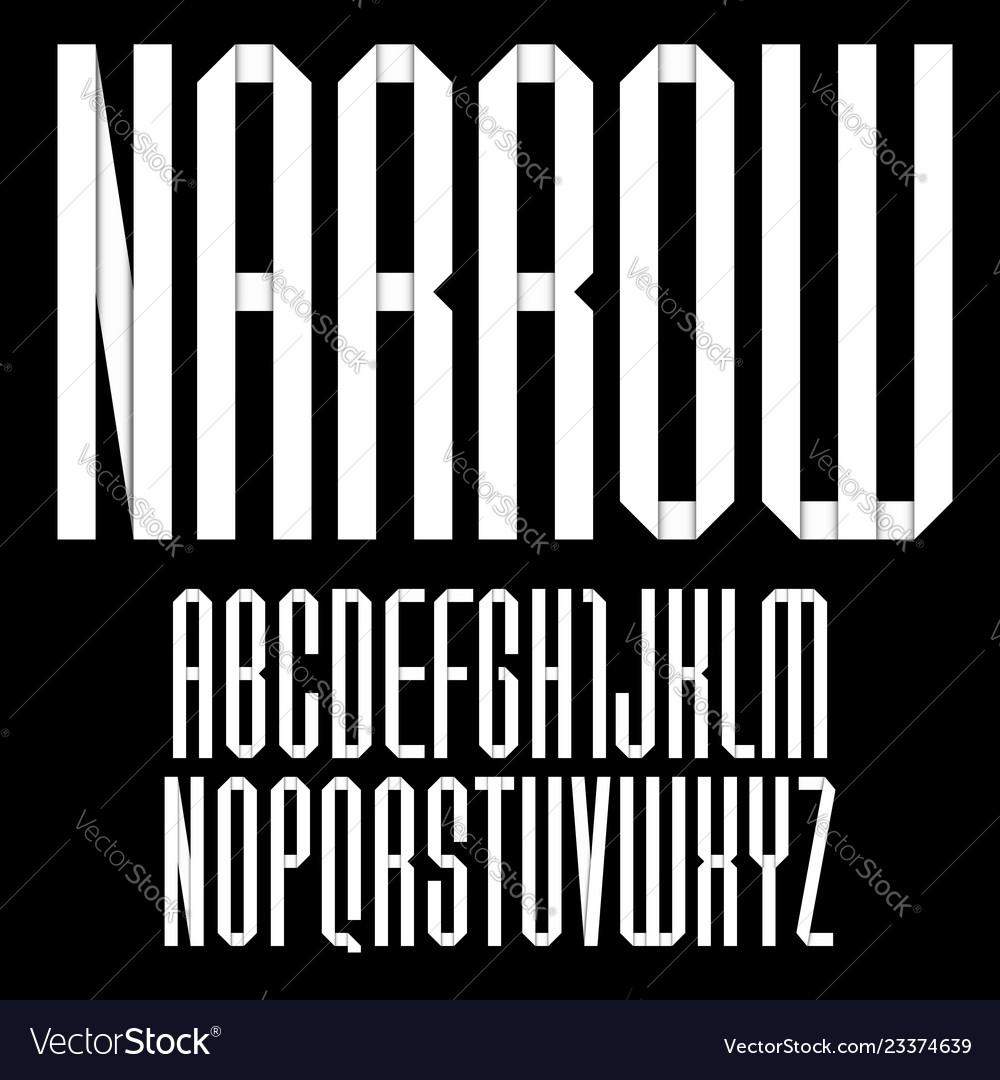 Modern alphabet folded of paper tape font narrow