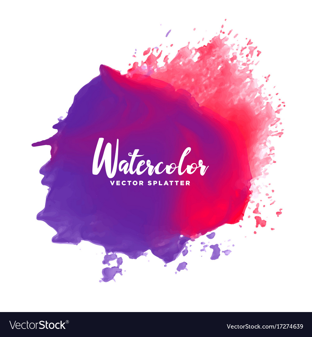 Purple red watercolor splash stain background