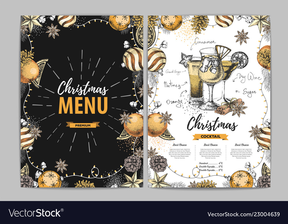 Restaurant Christmas Menus 2021 Restaurant Christmas Holiday Menu Design Vector Image