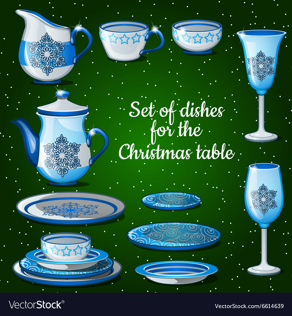 Set of dishes for lush festive table 11 icons