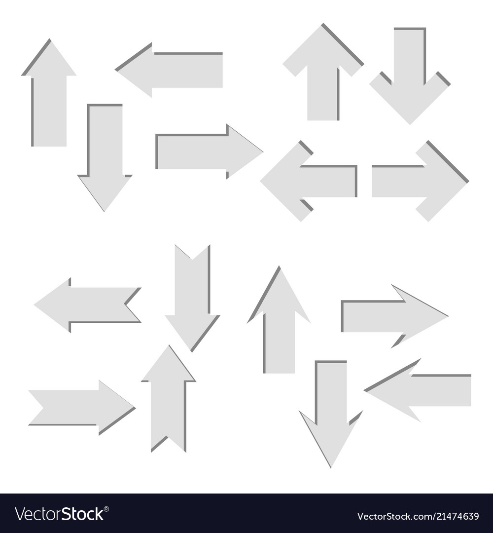 Set of paper cut out arrowsdirect shape