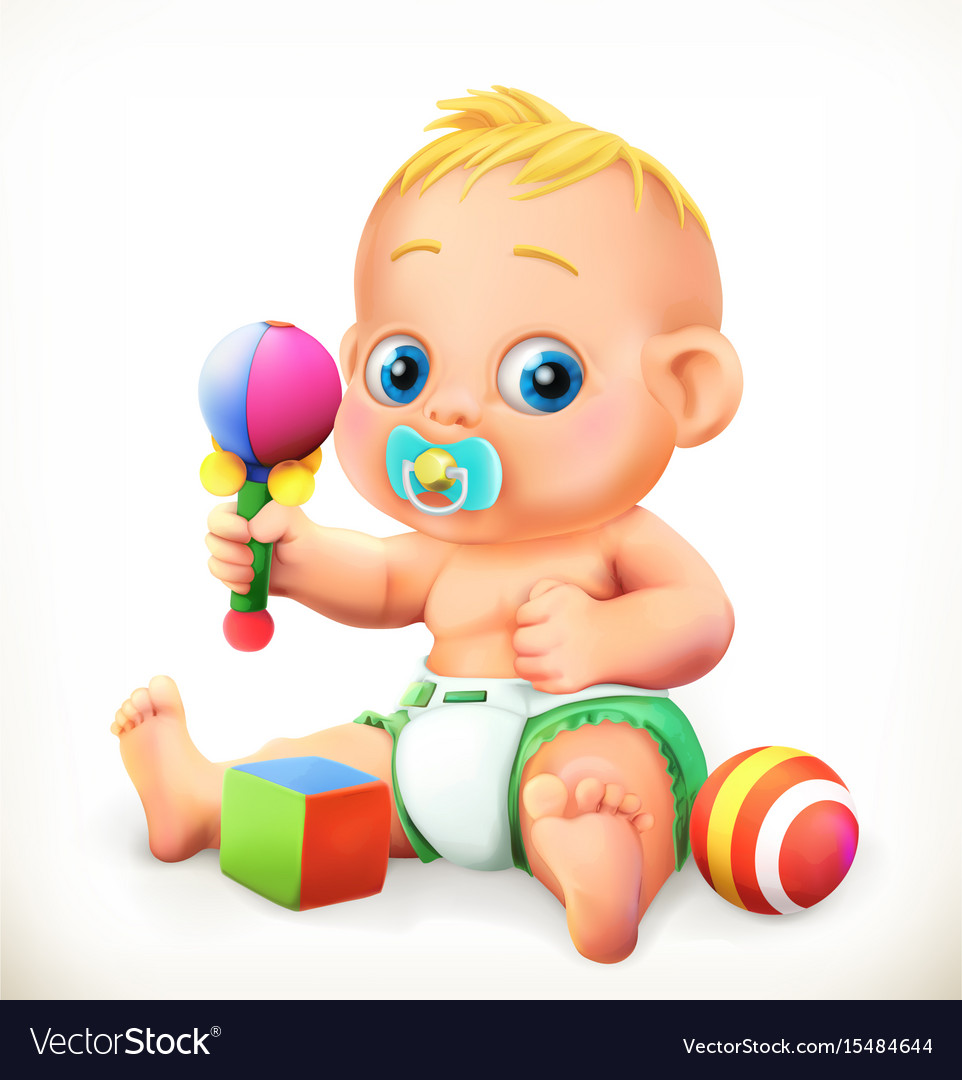 Baby and toys 3d icon