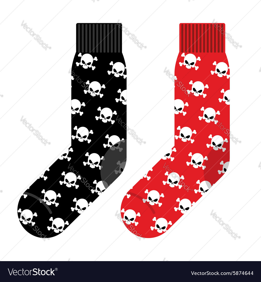 Black and Red socks with skull accessories