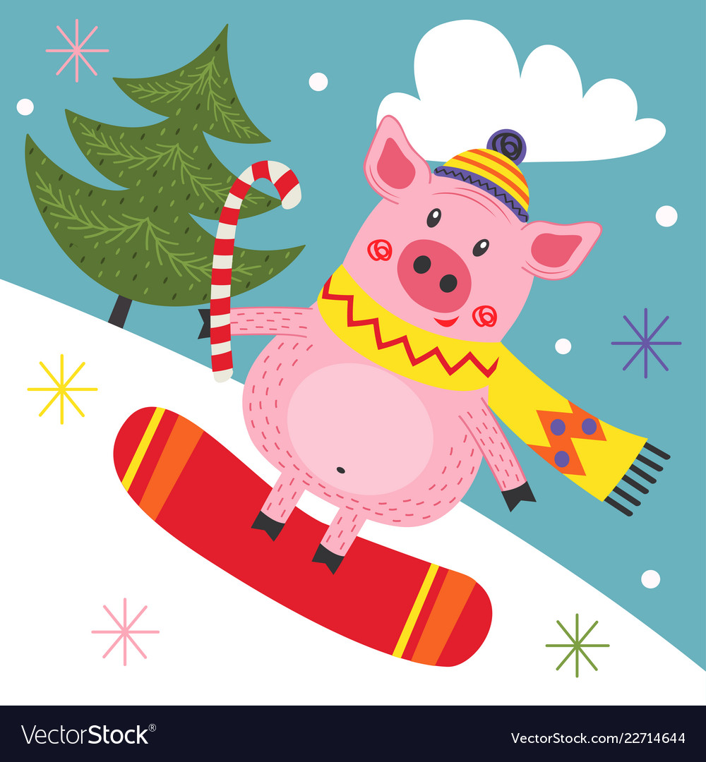 Card with pig on snowboard