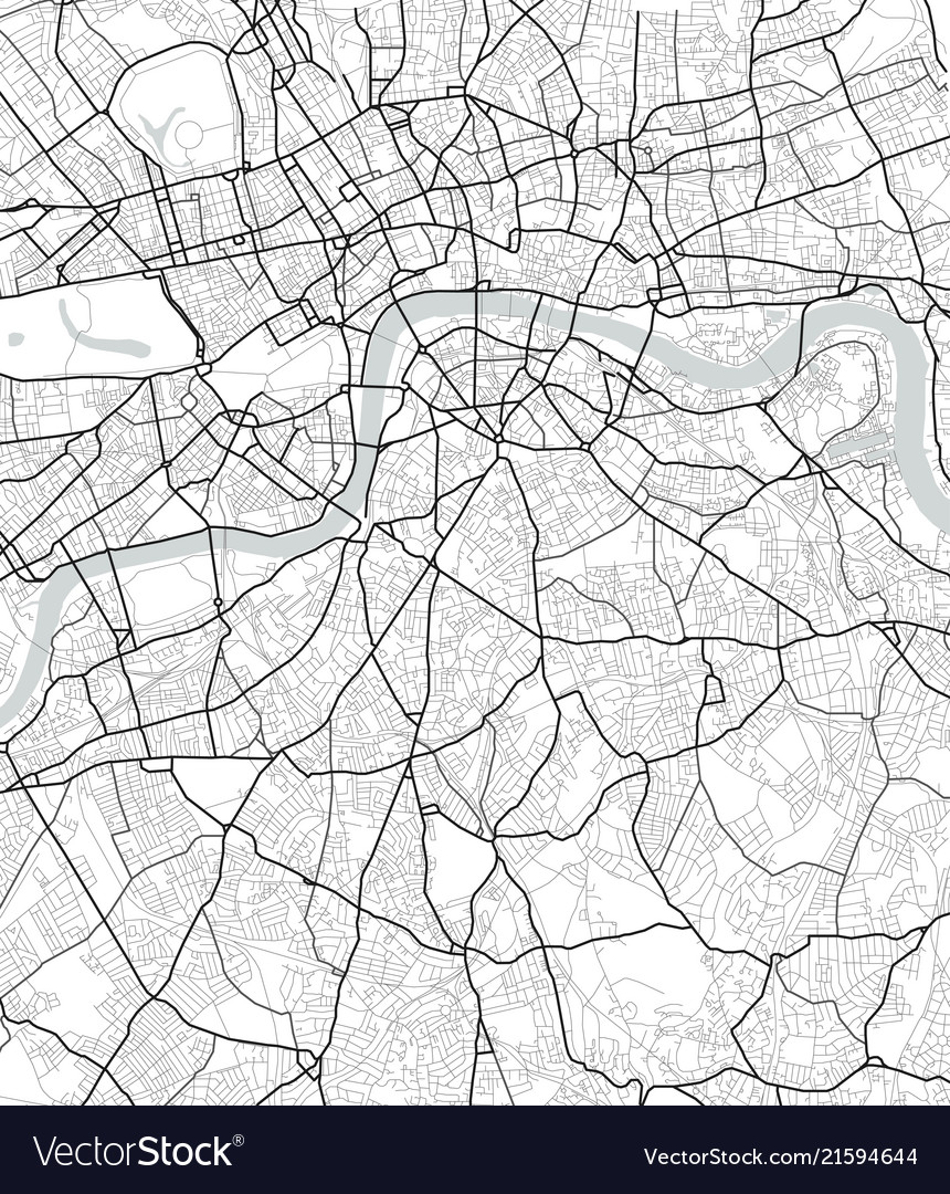 City map of london in black and white vector image