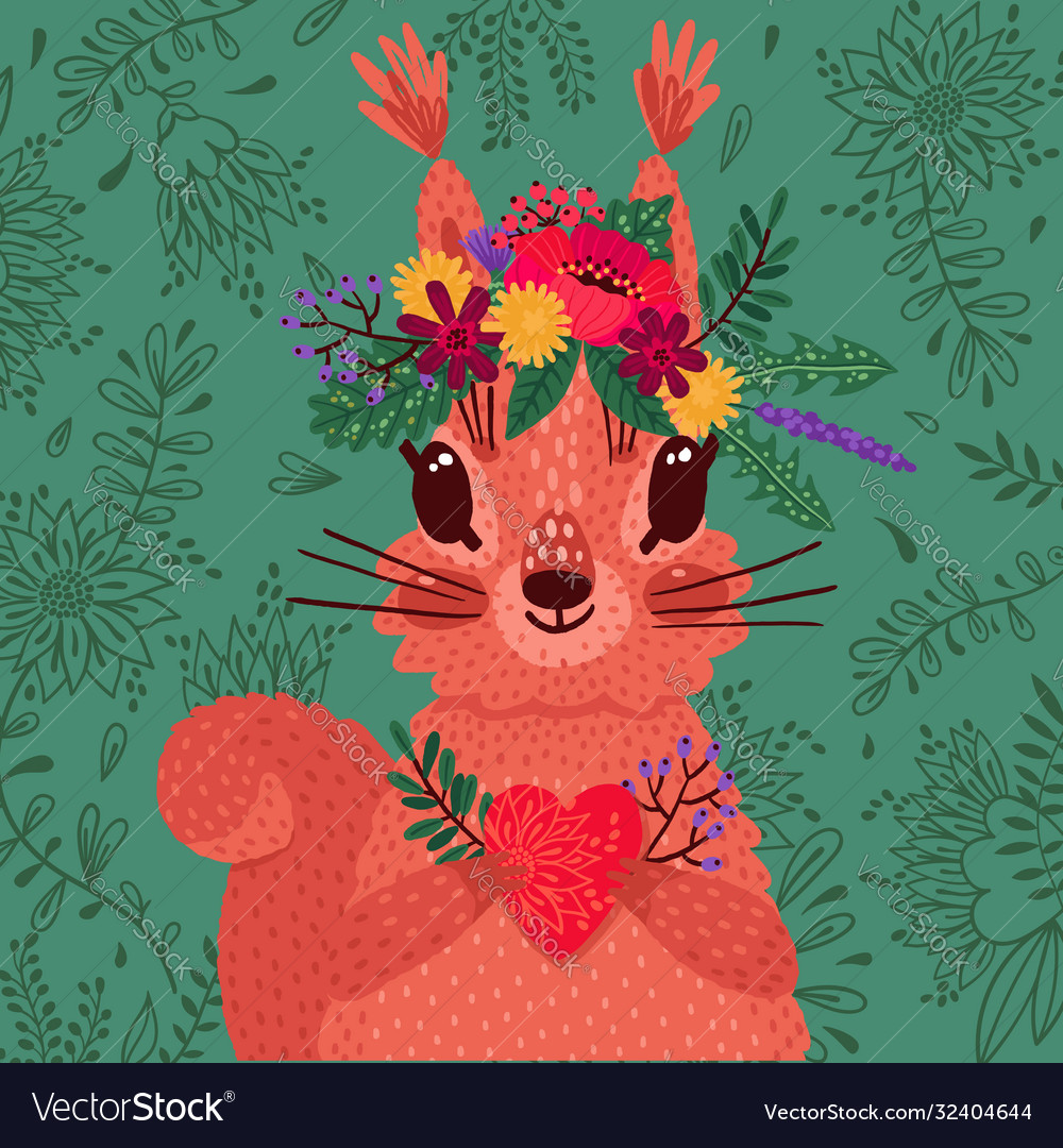 Cute red squirrel in a flower wreath holds a heart