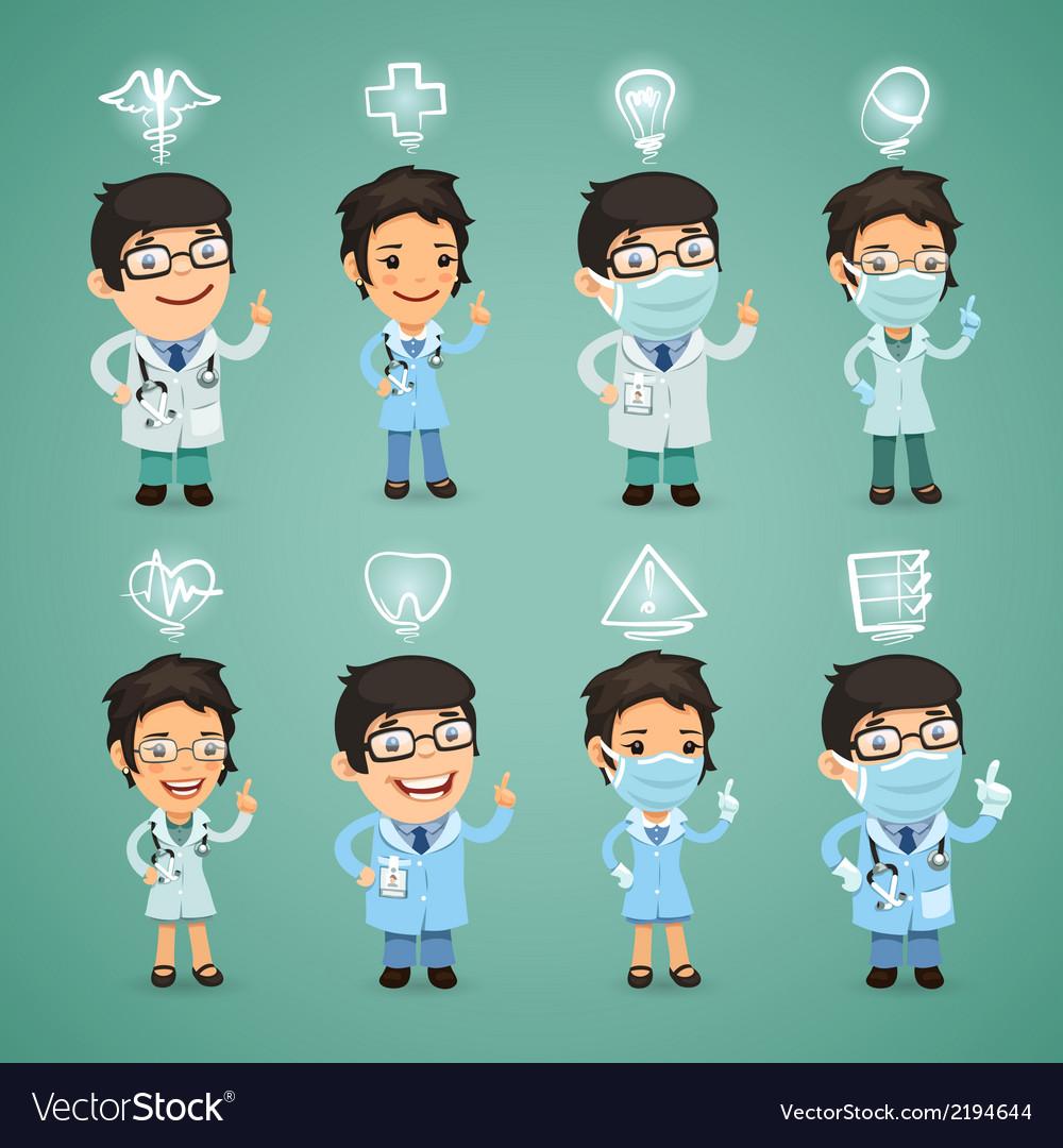 Doctors with simbols set