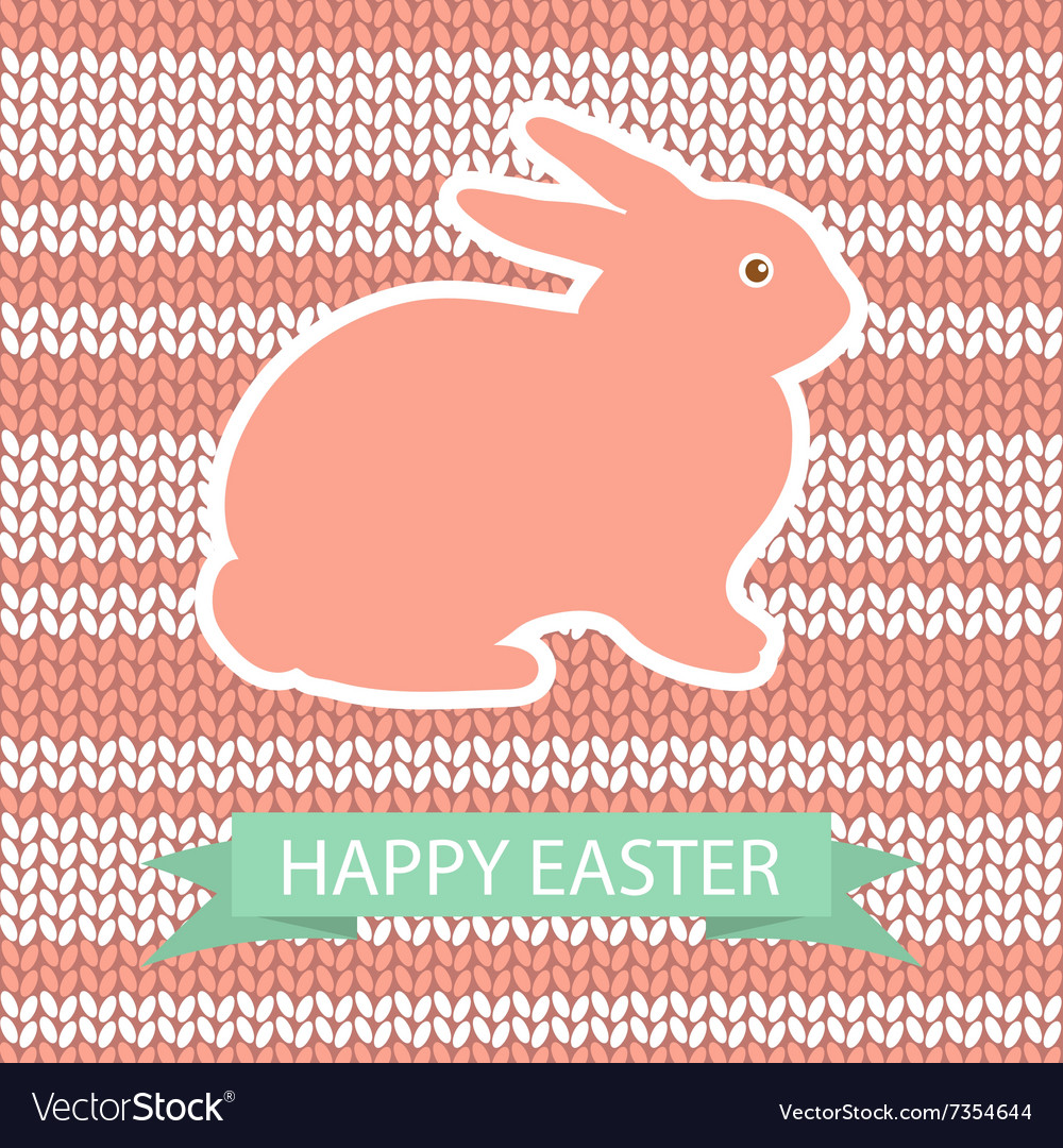 Easter card with pink rabbit on wool knited