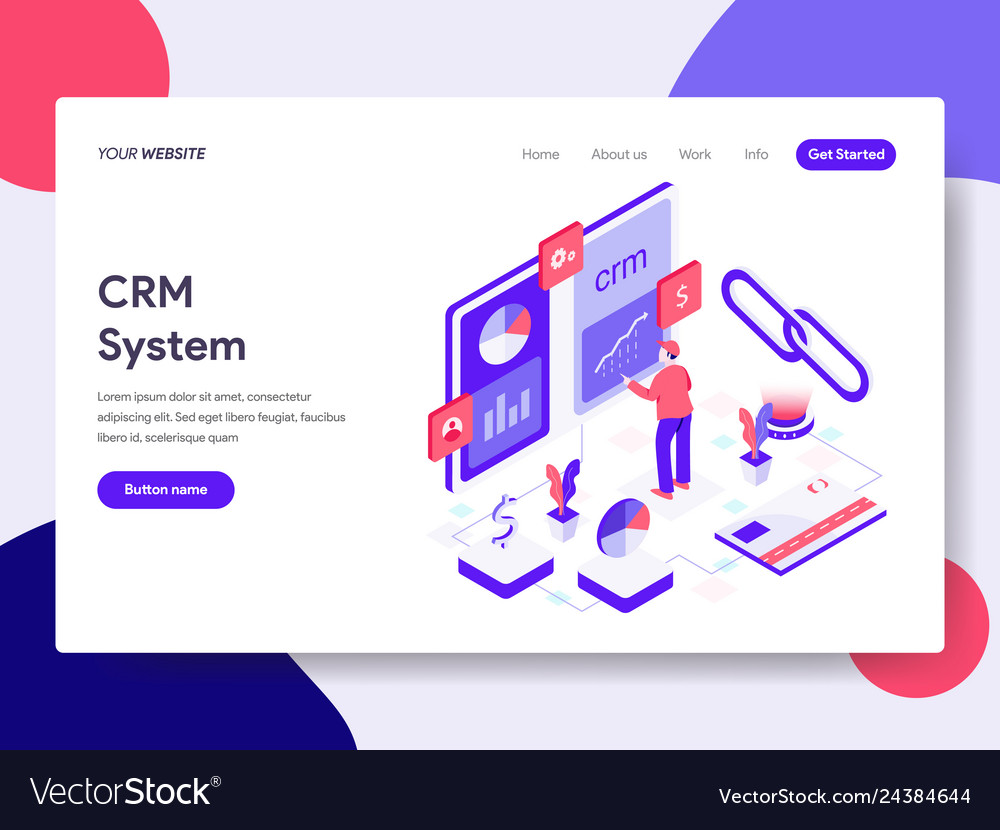 Landing page template of crm system concept