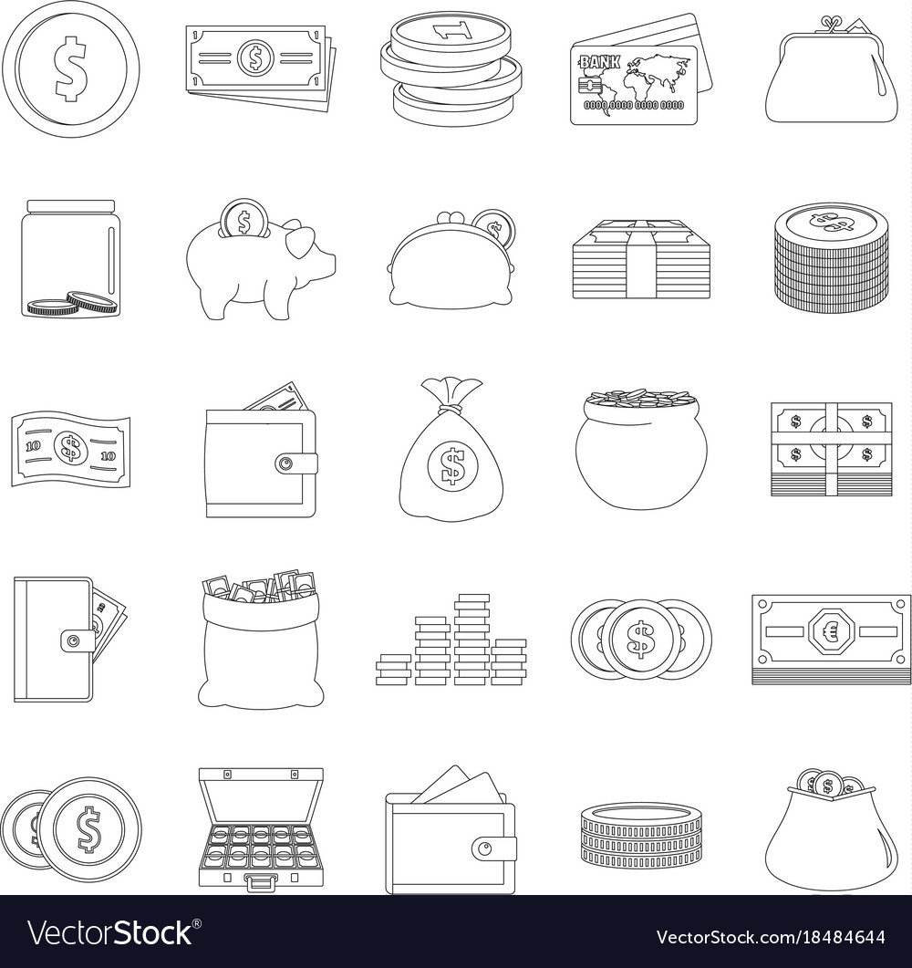Money types icons set outline style
