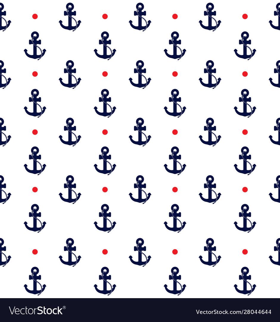 Nautical anchor pattern with polka dots