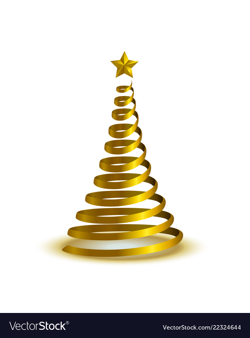 Spiral Golden Christmas Tree