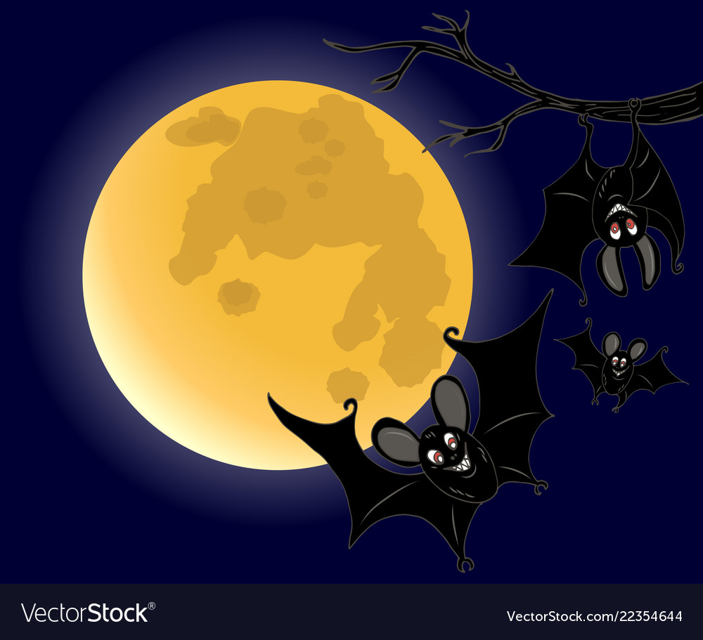 Three bats on full moon background