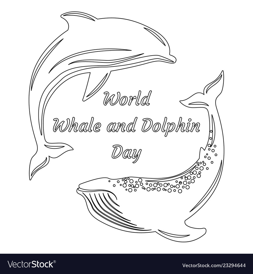 World whale and dolphin day silhouettes dolphin