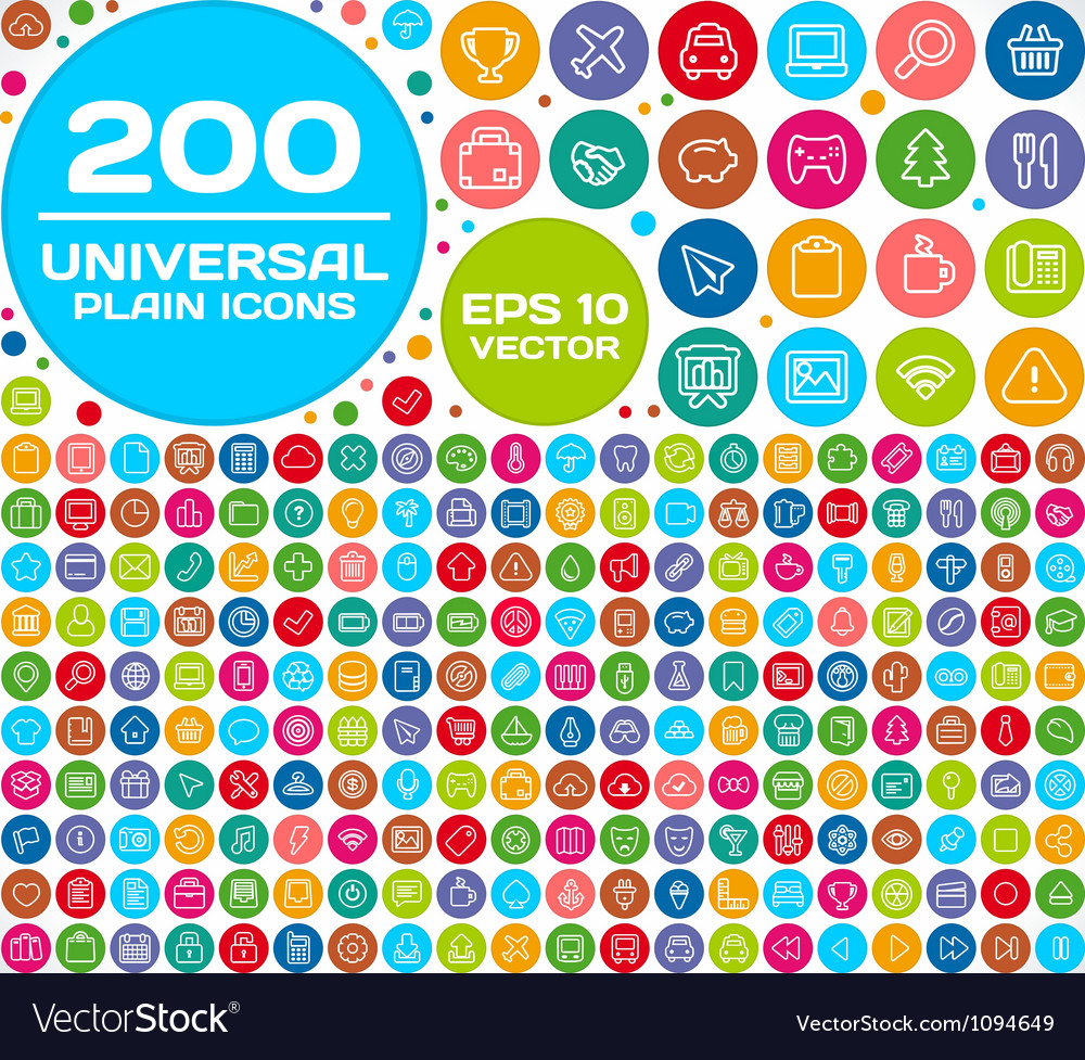 200 Universal Plain Icon Set