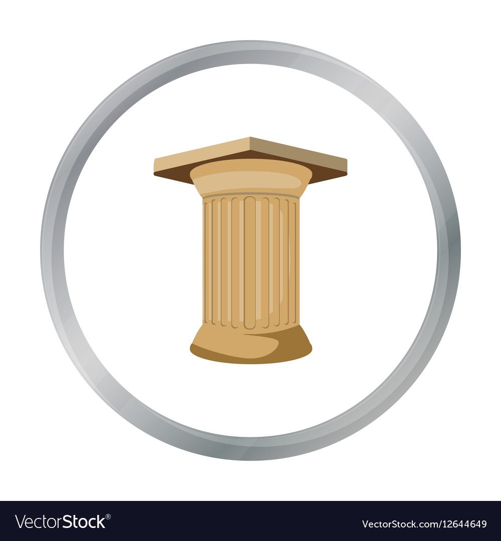 Antique column icon in cartoon style isolated on