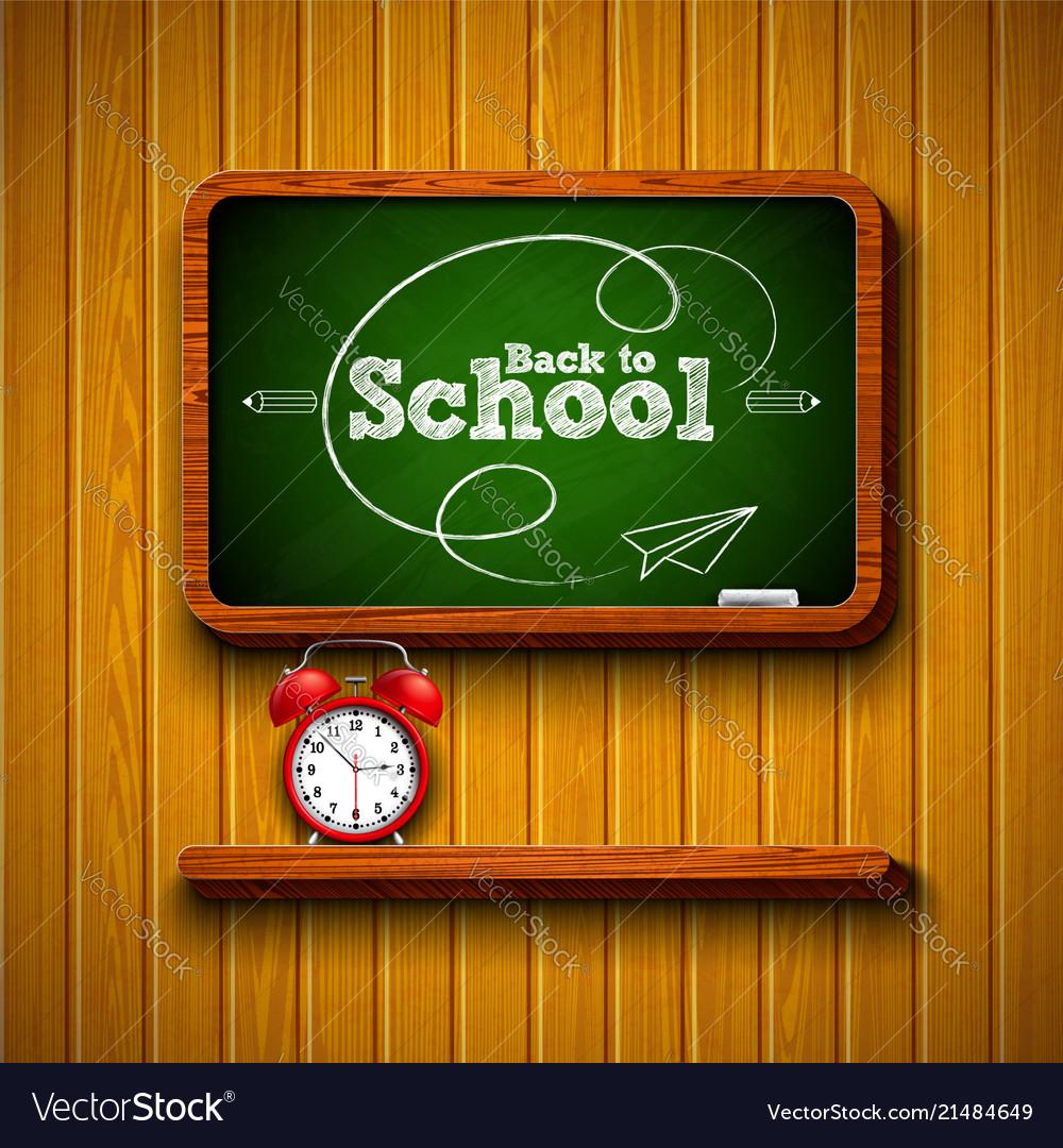Back to school design with alarm clock chalkboard