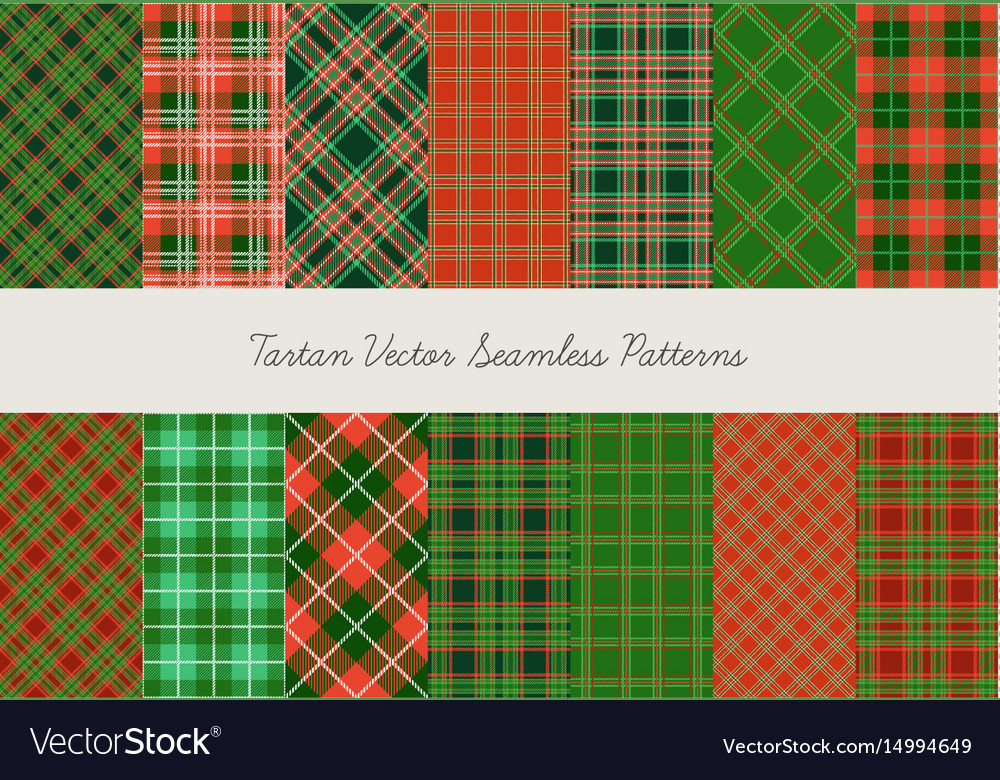 Christmas tartan seamless patterns in grin and