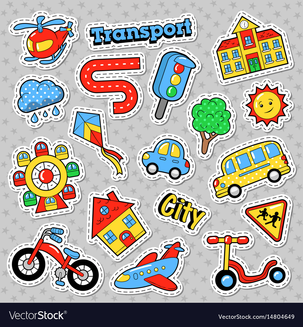City transport with bicycle car and bus