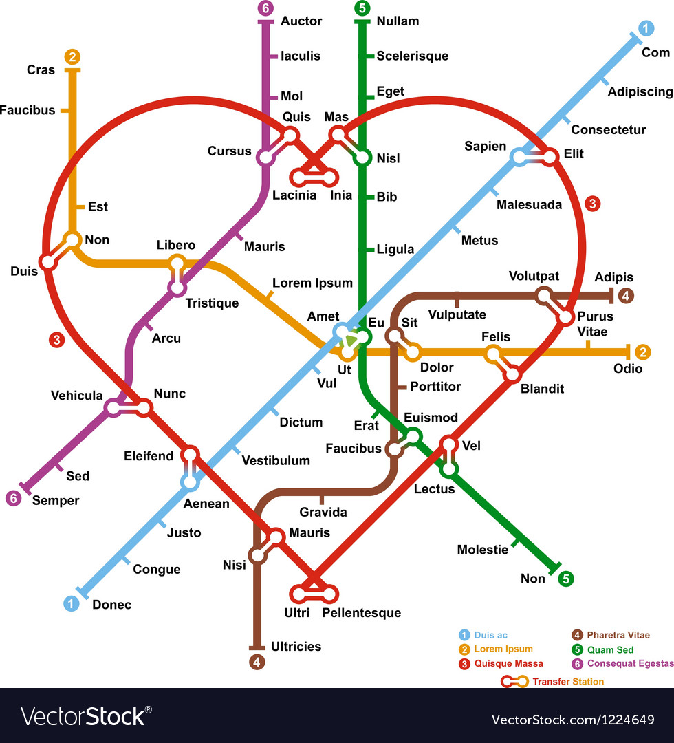 Subway Map In Heart Shape.Fictional Metro Map In Shape Of Heart