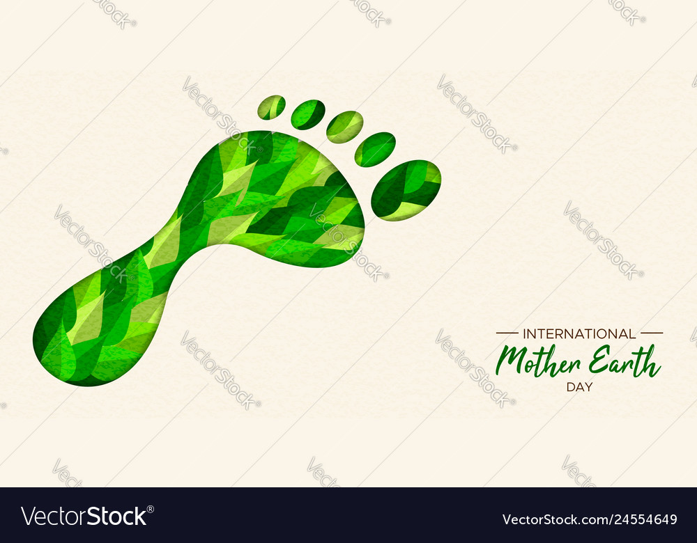 Green carbon footprint concept for earth day