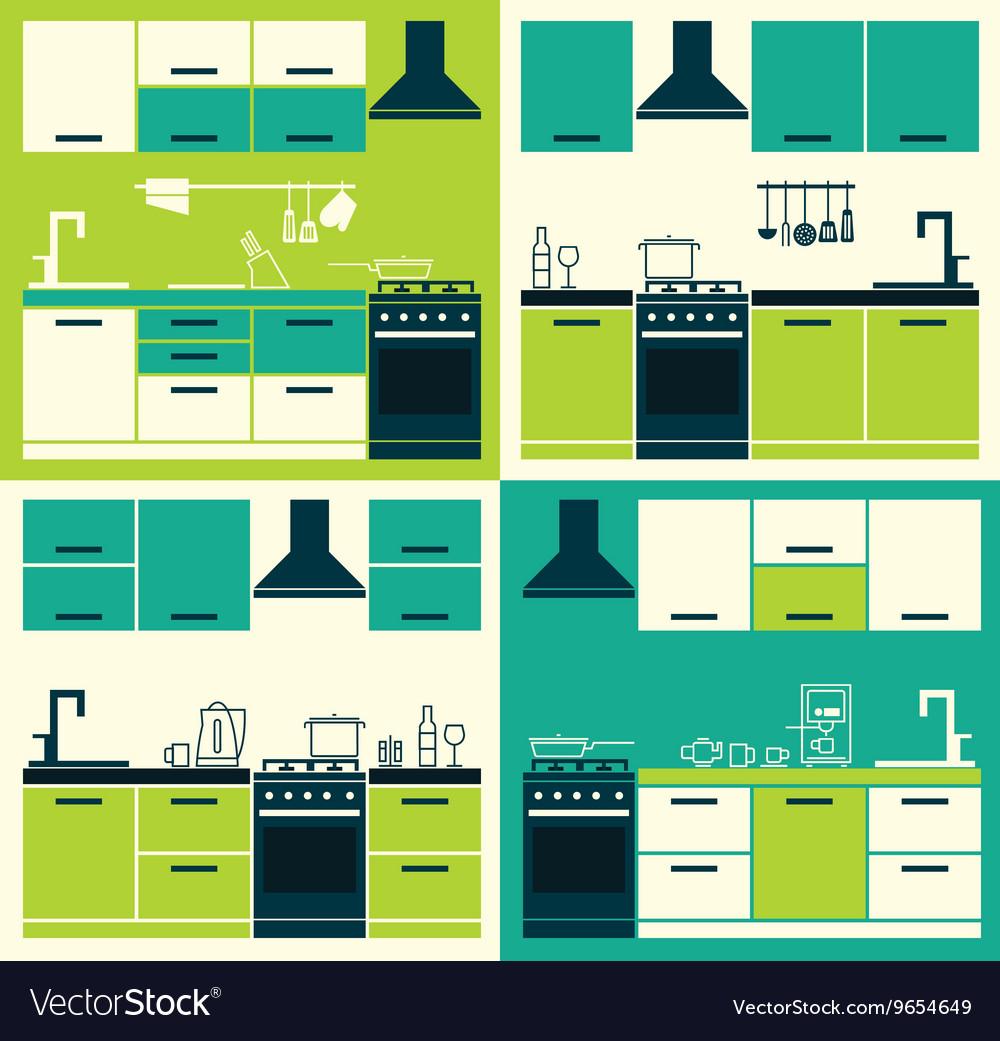 Set ofModern Kitchen Interior