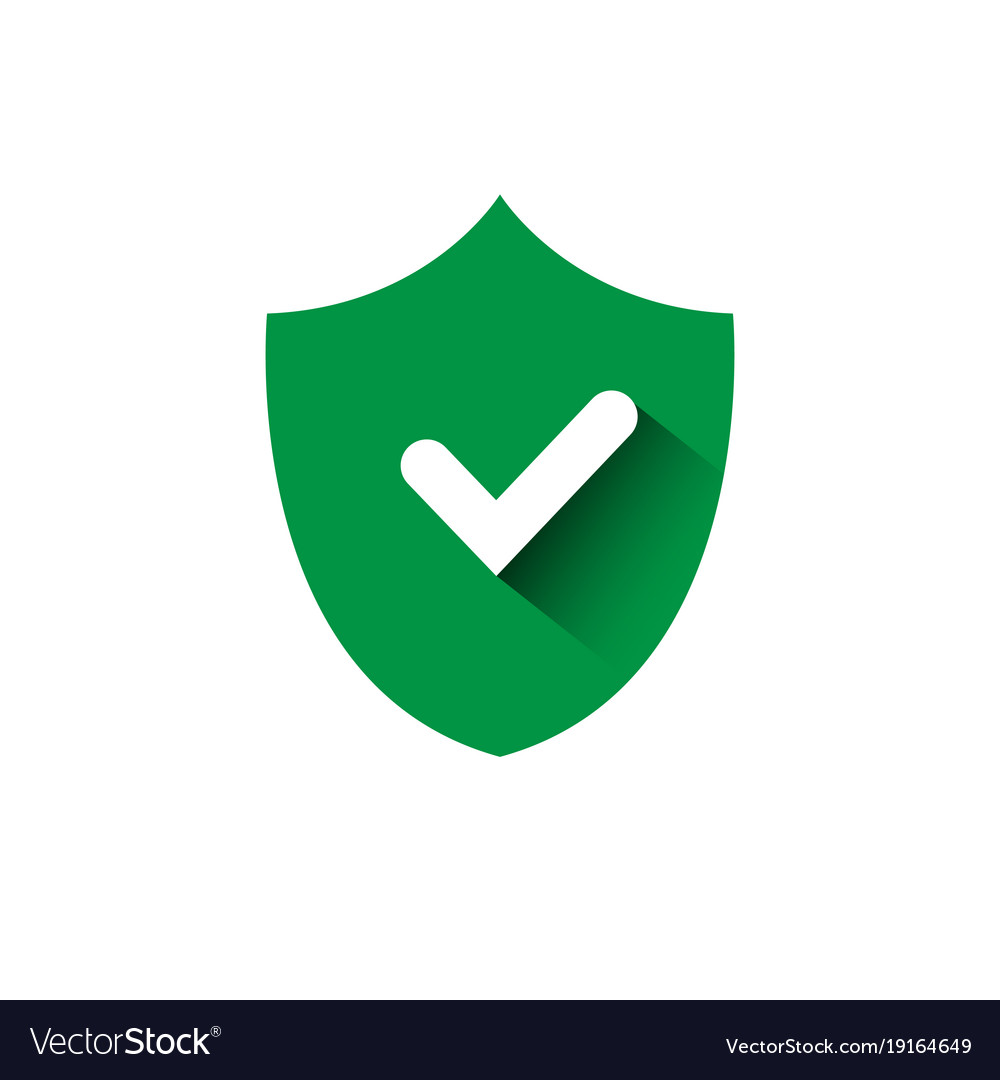 Shield with check mark green icon protection and