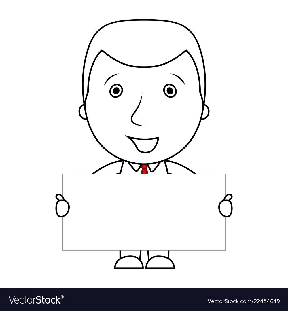 Smiling businessman line cartoon holding a blank s