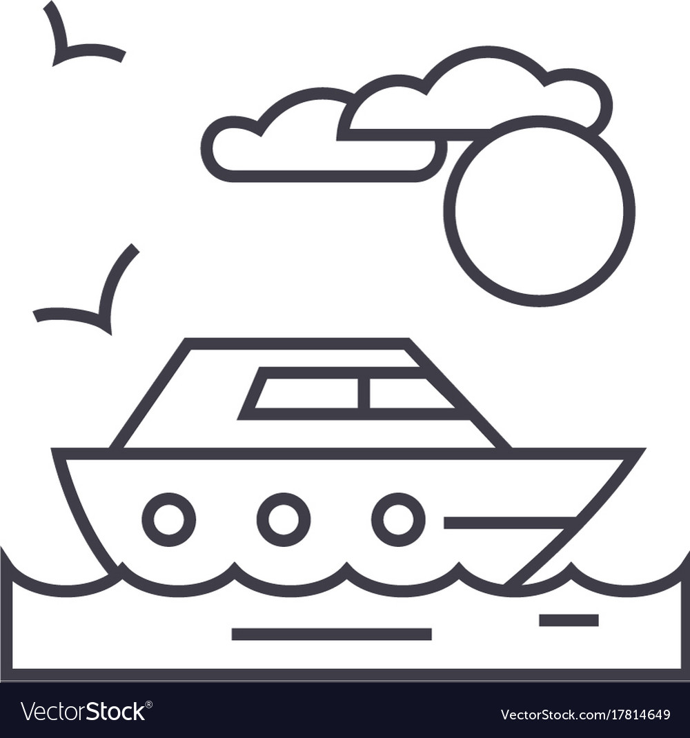 Travel sea yacht line icon sign