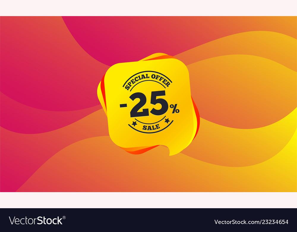 25 percent discount sign icon sale symbol