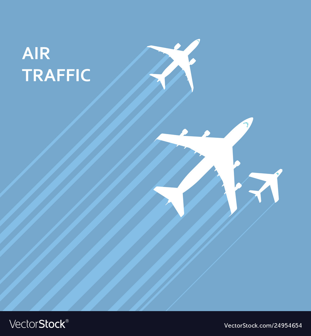 Airplanes takeoff in sky with trace
