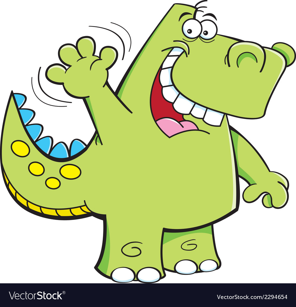 Cartoon Waving Dinosaur Royalty Free Vector Image