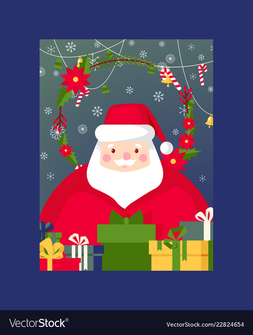Christmas merry xmas greeting card with Royalty Free Vector