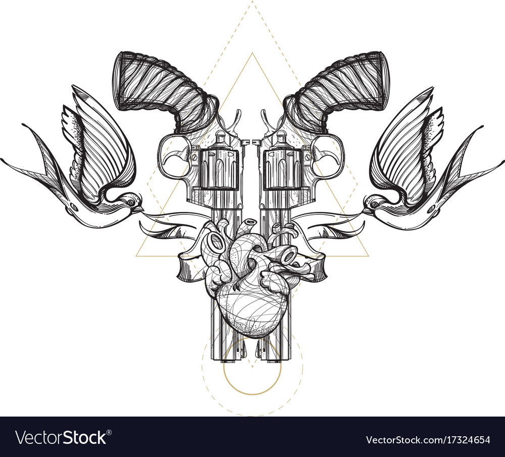 Contour image of two revolvers swallows ribbon