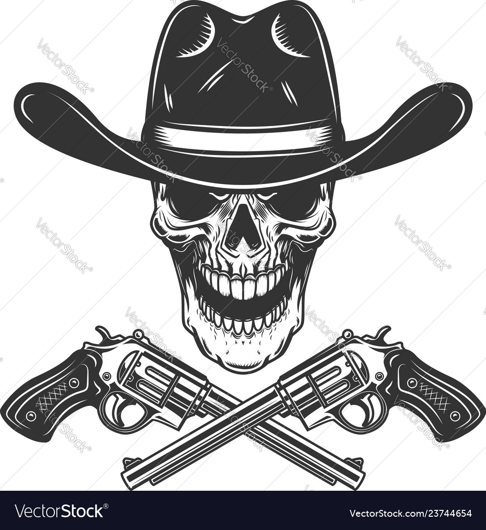 Cowboy skull with crossed revolvers design