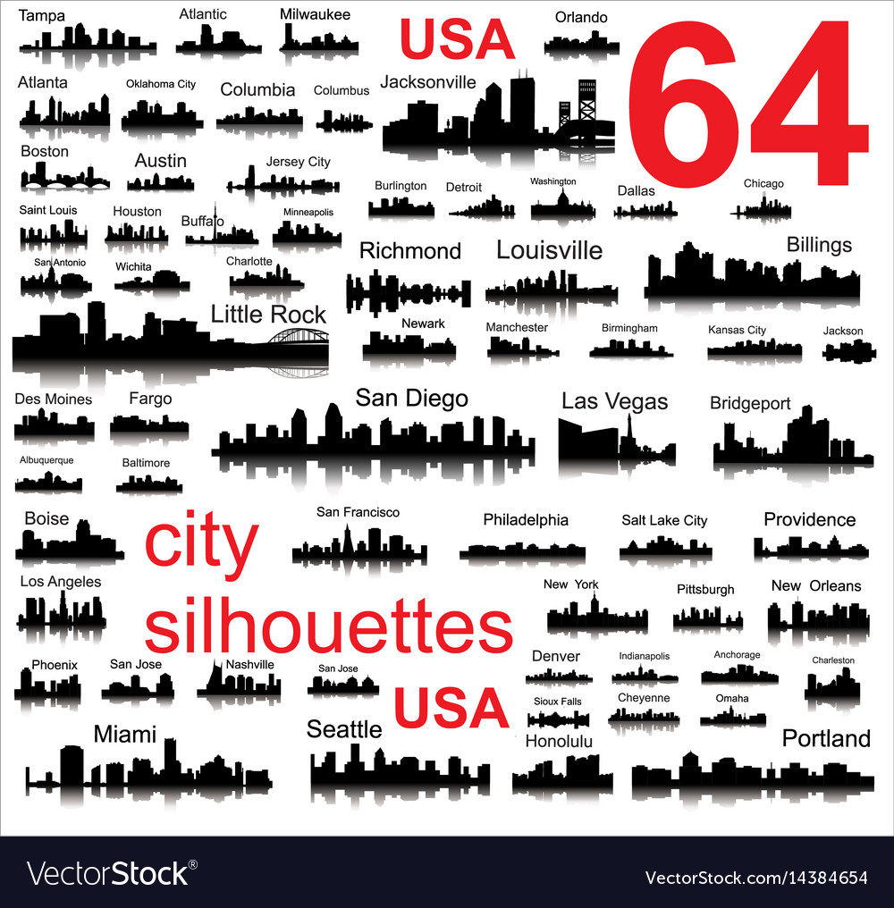 Detailed silhouettes of usa cities