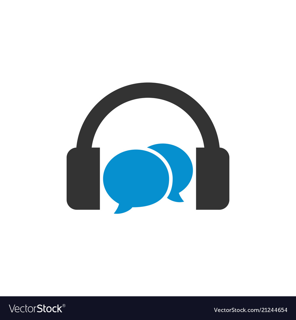 Headphone with bubble chat template