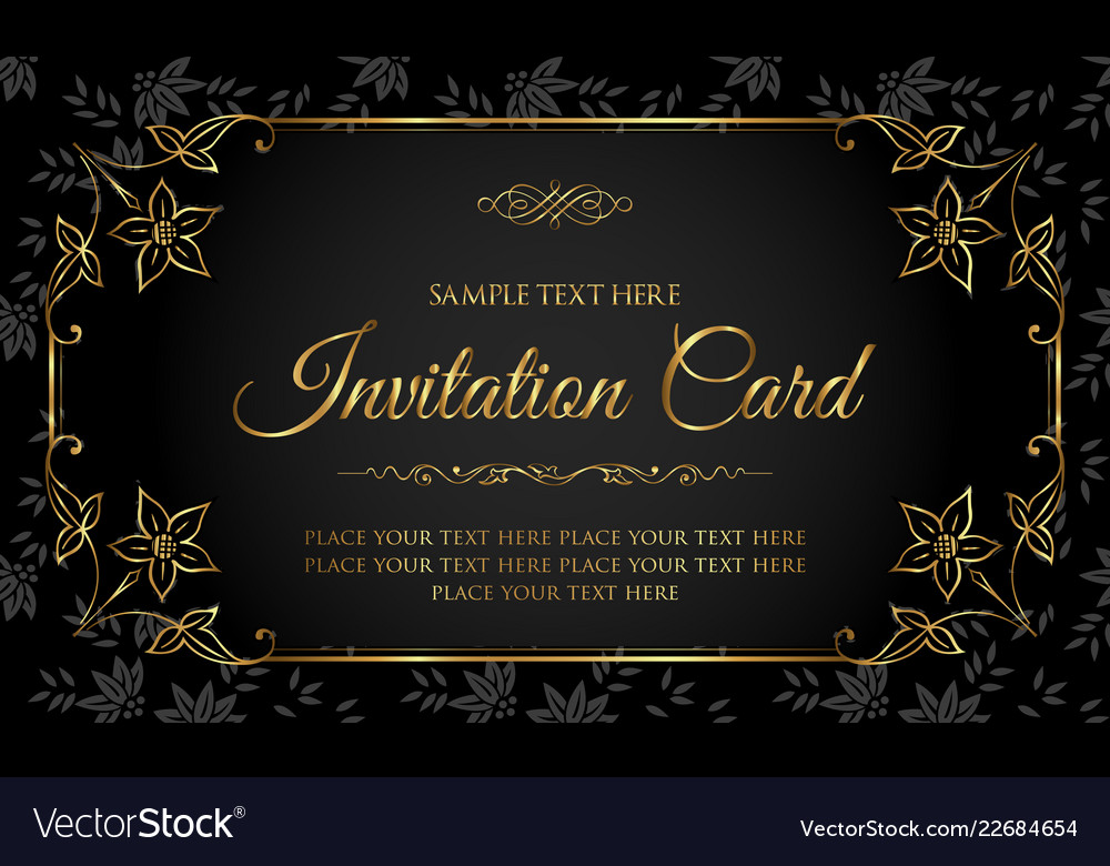 Luxury Black And Gold Invitation Card