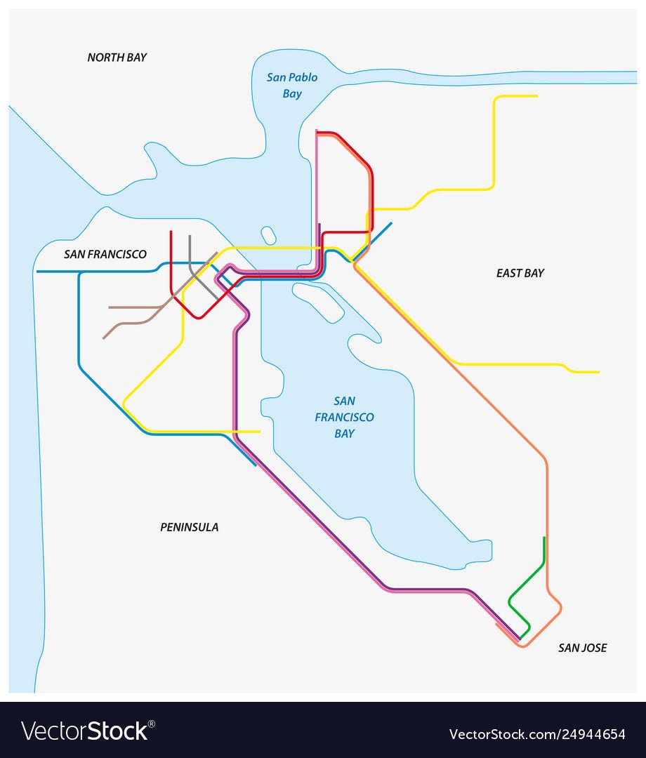 Metro map san francisco and california bay
