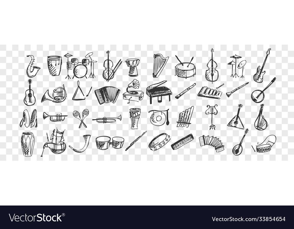 Musical instruments doodle set