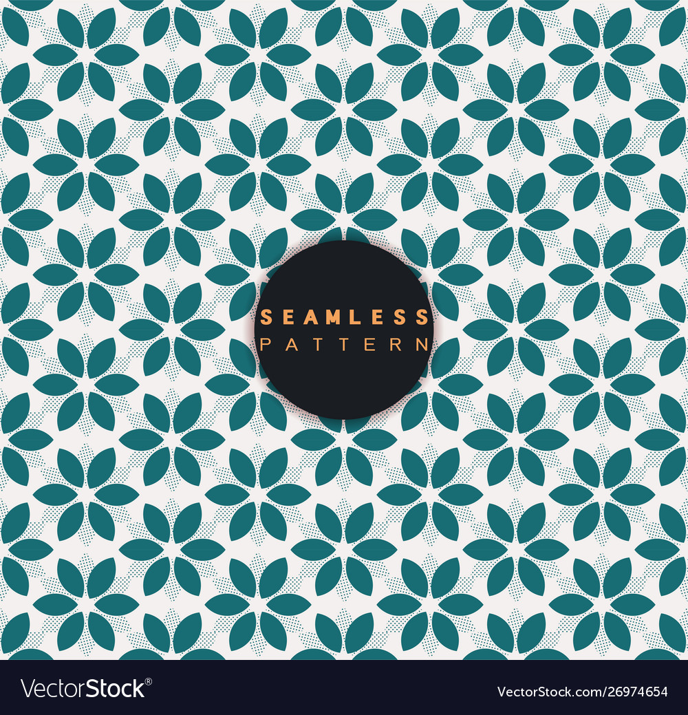 Seamless pattern with floral shape and dots
