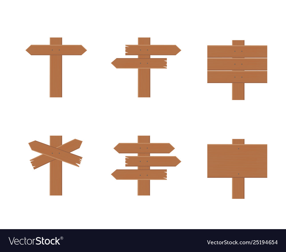 Set wooden signs in flat style