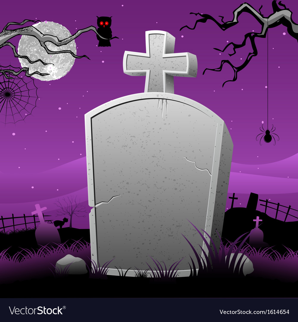Tomb Stone in Halloween Night vector image