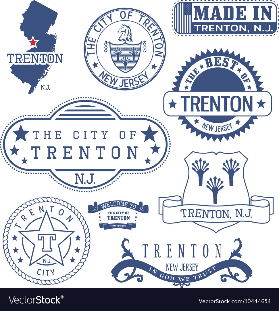 Trenton City New Jersey Stamps And Seals Vector Image