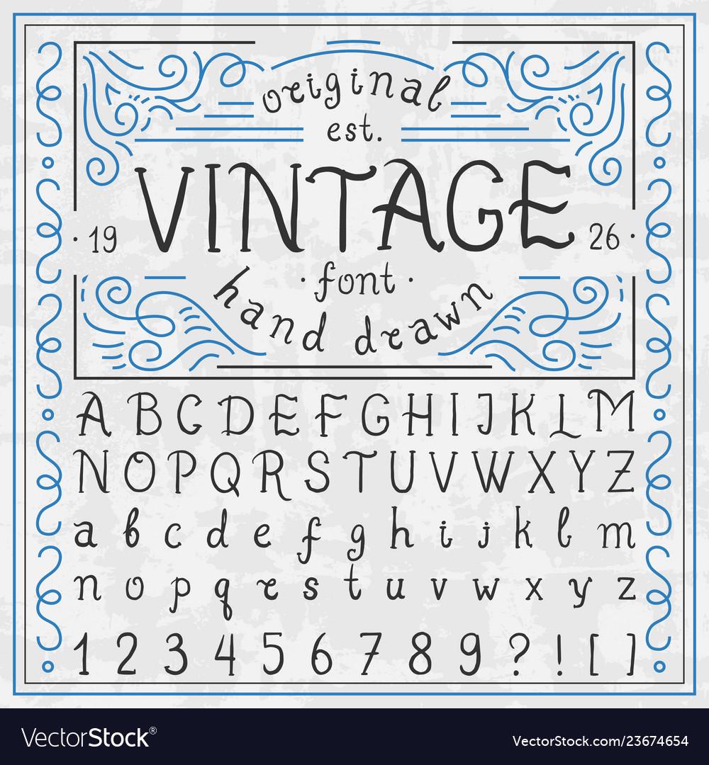 Vintage whiskey font handwritten alphabet letters