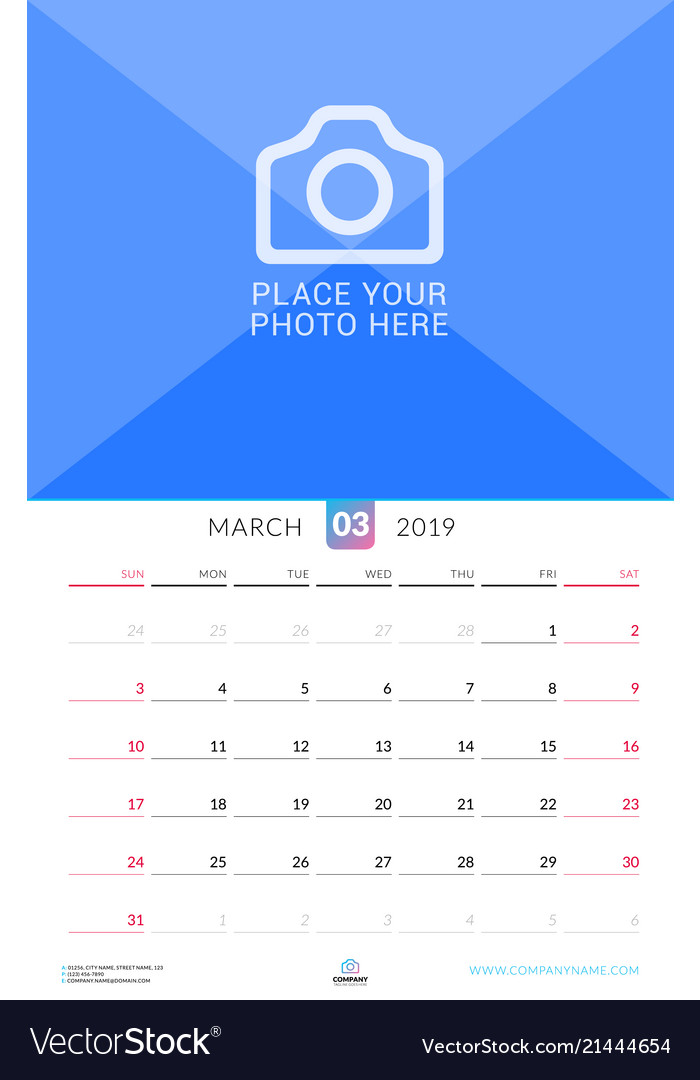 Wall Calendar For March 2019 Design Print
