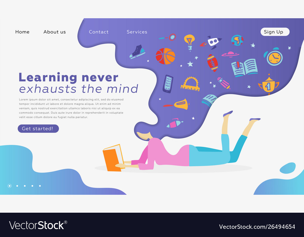 Web page design templates for education learning