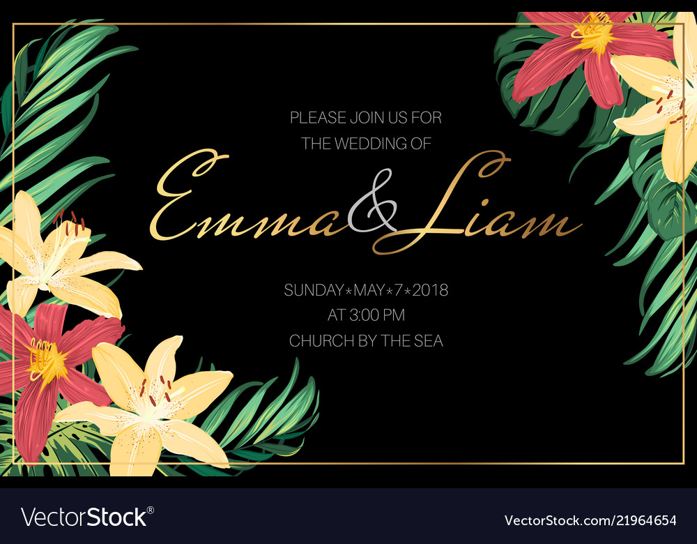 Wedding invite lily flowers tropical jungle leaves