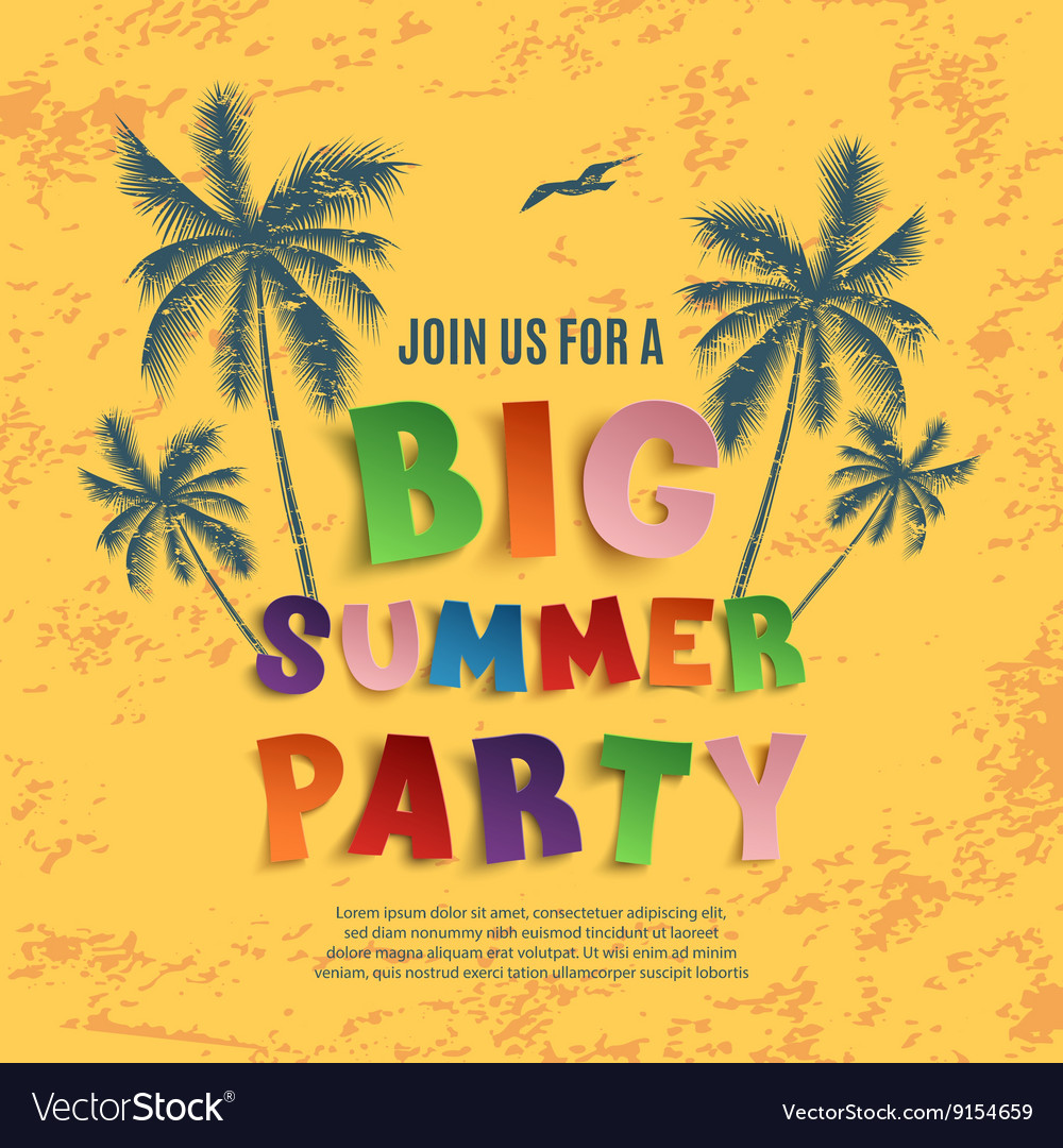 Big summer party poster template vector image
